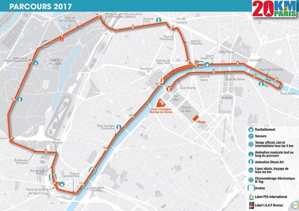 Parcours 20km de Paris